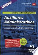 libro Auxiliares Administrativos Del Ayuntamiento De Fuenlabrada. Temario Materias Específicas