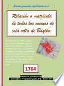 Edición Facsimilar Digitalizada De La Relación O Matrícula De Todos Los Vecinos De Esta Villa De Baylén (bailén). 1764
