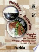 Núcleos Agrarios. Tabulados Básicos Por Municipio. Programa De Certificación De Derechos Ejidales Y Titulación De Solares. Procede. 1992 1999. Puebla