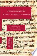 libro Poesía Manuscrita. Manual De Investigadores