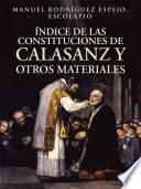 libro Índice De Las Constituciones De Calasanz Y Otros Materiales